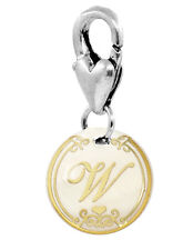Letter W Shell Beige Gold Cursive Alphabet Lobster Claw Clip Charm for Bracelets