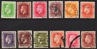 New Zealand 12 Stamps c1915-19 Mainly Used (tiny gum tone) (7376)