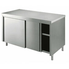 Tavolo 130x70x85 acciaio inox 430 armadiato cucina ristorante pizzeria RS4401