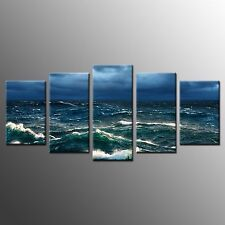 FRAMED Home Wall Art Decor Dark Seaview Waves Picture Giclee Canvas Prints-5pcs