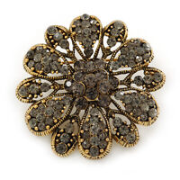 Vintage Inspired Grey Crystal Floral Brooch In Aged Gold Tone - 43mm D