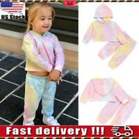 Toddler Kids Baby Girls Tie Dye Clothes Hooded Tops Pants Outfits Set Tracksuit