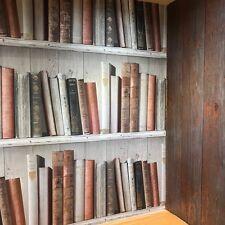Marrone Da Scaffale Carta Da Parati Incollare Il Muro Libreria sul pannello di legno Taupe FC3402