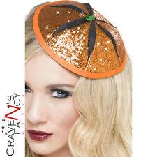 Pumpkin Fascinator Orange Glitter Mini Hat Halloween Fancy Dress Ladies New