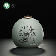 Handmade Canister Yixing Zisha Clay Bamboo Gray Tea Caddy Canister 500ml 16.9 oz