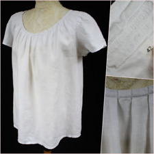 Lin'n Laundry Women Linen Top Blouse 42 L 14 White Short Sleeve Peasant Summer