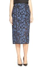 NWT$495 Veronica Beard Fleur de Lis Appliqué High Waist Pencil Skirt [SZ 0] #338