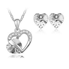 white Heart Crystal Pendant Necklace Chain and Earrings Wedding Jewellery Set