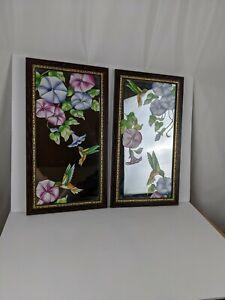 Vintage Painted Glass Hummingbird Art Mirrors Set of 2