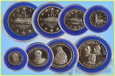 """Europe Set of ECU """"Coins"""" 1987 in Case 1,2,5,10 Ecus"""