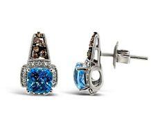 Levian Topacio azul pendientes de diamantes de Chocolate Vainilla diamantes 14K oro Vainilla