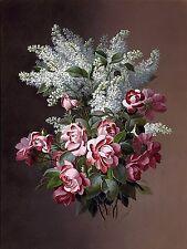 bouquet roses lilacs Accent Tile Mural Kitchen Bathroom Backsplash Ceramic 6x8
