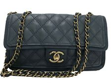 CHANEL TEAL QUILTED LEATHER FLAP HANDBAG, BRONZE HARDWARE