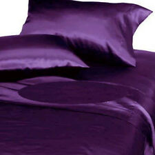 New Comfort Soft Silk~Y Satin Lingerie Bed Sheets+1 Pillowcase Set TWIN  PURPLE