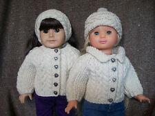 "18"" Doll Knitting Pattern American Girl Aran Raglan Sweater Hat Headband"