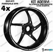 899 PROFILE WHEEL RIM STICKERS TWO-TONE Ducati Panigale WHITE STRIPS ARGEN