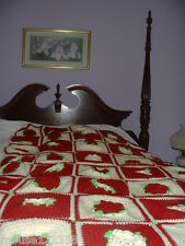 Handmade  Flower Designed Handcrafted Crochet Afghan Throw Blanket  square rose