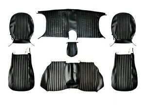 Set Seat Covers Fiat Dino SPIDER Faux Leather Black Complete 1. Series 1966-1969
