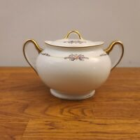 Meito China Nippon Hand-Painted Floral Gold-Trimmed Sugar Bowl & Lid