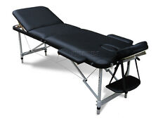 Black Portable Massage Table Bed Beauty Therapy Couch 3 Section ALU + Cover Bag