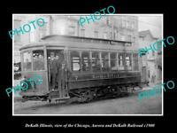 OLD POSTCARD SIZE PHOTO DEKALB ILLINOIS, THE AURORA DEKALB STREET RAILROAD 1900