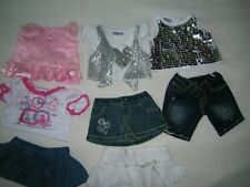 Lot of 8 items: Build A Bear Clothing- pink, denim, sparkles, skirts, shorts