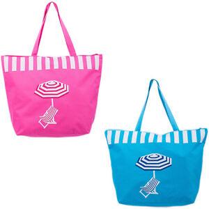 Beach Bag Womens Ladies Large Summer Shoulder Bags Shopper Tote Canvas Zip  Blue