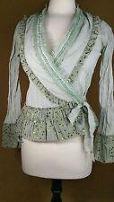 Womens Peplum Boho Victorian Blouse Lace Ruffled Sage Green Top ANTILIA FEMME Sm