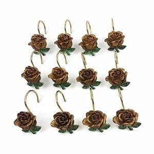Vtg Antiqued Gold Hand Painted 12 Rose Shower Curtain Hooks Shabby Romantic Chic