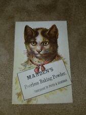 1880s Trade Card Mardens Peerless Baking Powder Rochester New York Kitty Cat