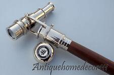 Wooden Cane Telescope Walking Stick Vintage Spy Telescope Handle Chrome Finish