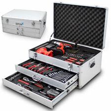 BITUXX Werkzeugkiste Werkzeugkoffer bestückt Werkzeugkasten mit Akkuschrauber