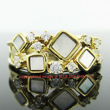 Genuine Solid 9ct Yellow Gold Engagement Wedding Shell Ring Simulated Diamonds