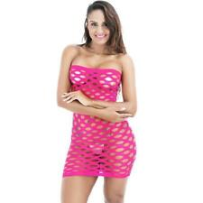 Sexy Erotic PINK Lingerie Fishnet Tube Mini Dress Body Suit Stocking One Sz #3