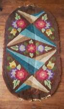 """Antique Oval Wool Floor Rug Mat - Brown - Bright Color Flowers - 48"""" x 27"""""""
