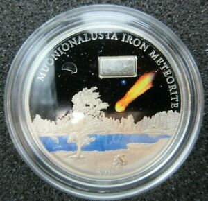2011 Stardust of the Universe Silver Proof Coin MUONIONALUSTA IRON Meteorite