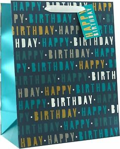 Pack of 6 Happy Birthday Blue Large Size Gift Bags