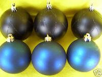 "Vintage Set Of 6  Blue Glass 3"" Christmas Decorative Ornaments"