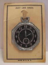 Old 1920s Lead Pocket Watch Toy - 'Just like Dads' on display card