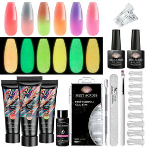 MEET ACROSS Poly Nail Extension Gel Kit Temperature Color Changing 6 Colors DIY