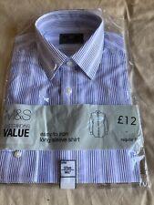New Men's Marks And Spencer Blue Stripe Long Sleeved Shirt, Size 14.5