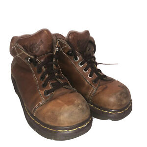 Vtg Dr Martens 8542 Brown Leather Womens Ankle Chunky Boots Sz 6 Made In England