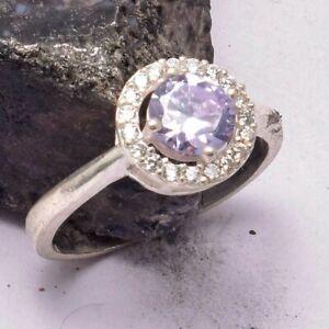 Amethyst White Topaz Ethnic Handmade Ring Jewelry US Size-5.5 AR 32867