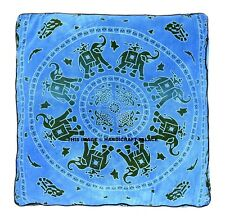 "35"" Large Oversized Blue Floor Pillow Cover Pouf Meditation Cushion Cover Indian"