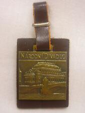 """Vintage Pocket Watch Fob Narodni Divadio Brass 1 1/8"""" X 1 1/2"""" Prague CZECH"""