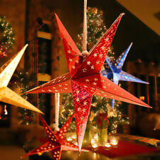 Red Home Garden Christmas Star Decoration Tree Xmas String Hanging Star Party