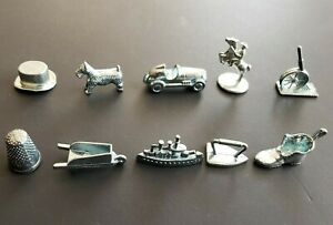 Monopoly Pewter Replacement Tokens - 10 Classic Pieces Pawns Charms