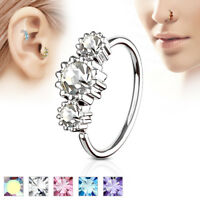 CZ Ear Cartilage Helix Tragus Rook Snug Daith Hoop Nose Ring Piercing 20G