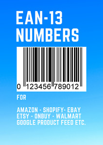 100 EAN Bar code Numbers For Amazon Ebay Etsy etc UK EU US