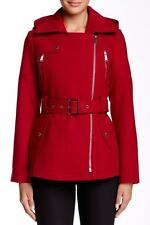 BCBG MAXAZRIA Red Asymmetrical Belted Jacket Coat XL NWT Womans (MSRP $228.00)